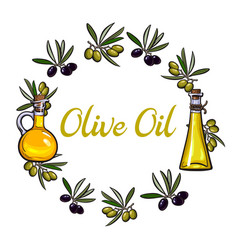 Round frame of olive branches and oil bottles with vector