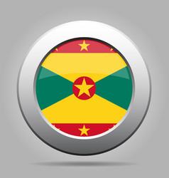 flag of grenada shiny metal gray round button vector image