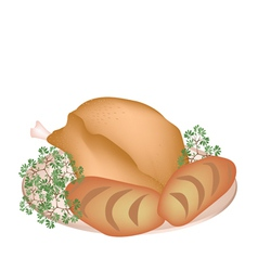 A plate of delicious roast turkey with cornbread vector
