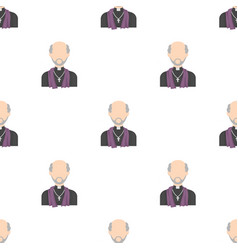 Priest icon in cartoon style isolated on white vector