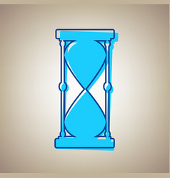 Hourglass sign sky blue icon vector