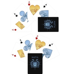 Four aces playing cards noir mafia set vector