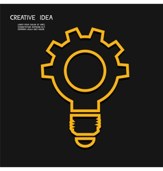 Creative light bulb with gear concept  idea conce vector
