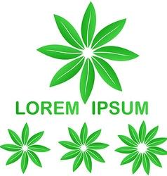 Green ecology leaves logo design set vector