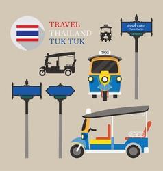 Thailand tuk tuk and side-street sign set vector