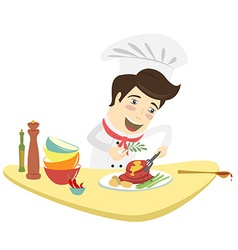 Funny chef cooking meat dish in the kitchen vector