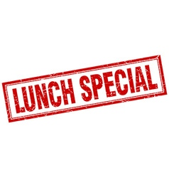 Lunch special red grunge square stamp on white vector