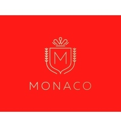 Elegant monogram letter m logotype premium crest vector