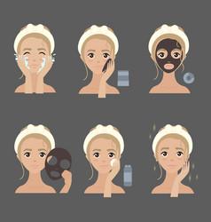 applying facial mask steps moisturizing and acne vector image
