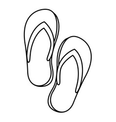 Black silhouette of beach flip-flops vector