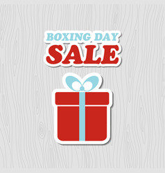 boxing day sale card banner with gift box vector image vector image