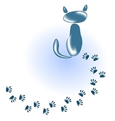 Cat of stones and glass and his footprints eps10 vector