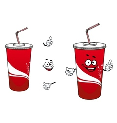 Cola or soda paper cup cartoon character vector image