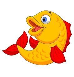 Cute fish cartoon waving vector