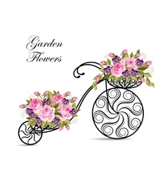 Decorative bicycle with a basket full of flowers vector image