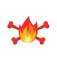 Fire and bones logo for firemen flames and vector