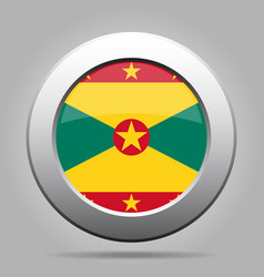 Flag of grenada shiny metal gray round button vector
