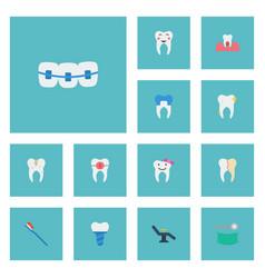 Flat icons children dentist brace enamel and vector