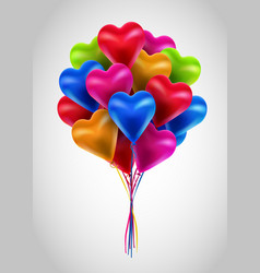 flying bunch of multicolored balloon hearts vector image vector image