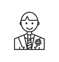 groom line icon sign on vector image