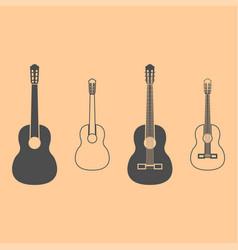 guitar dark grey set icon vector image