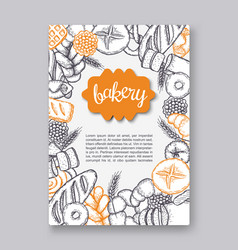 hand drawn decorative bread bakery flayer vector image