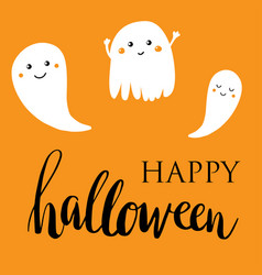 happy halloween lettering card vector image vector image