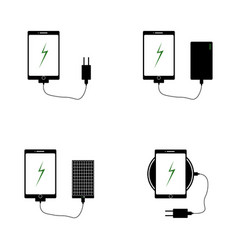 Icons of chargers for mobile phones vector