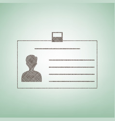 Identification card sign brown flax icon vector