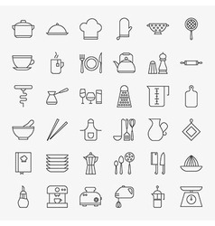 Kitchen Utensils Line Art Design Icons Big Set vector image vector image