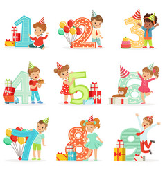 little children birthday celebration set with vector image vector image