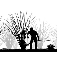 Man coppicing silhouette vector