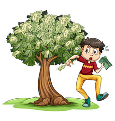 Man holding money and money tree in background vector