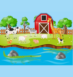 many animals by the river vector image