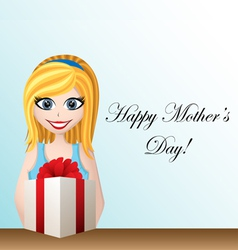 Mothers day greeting card with cartoon girl vector image vector image