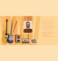 Music concert banner horizontal cartoon style vector