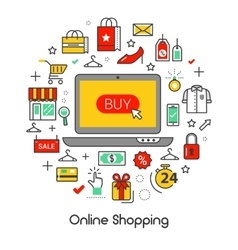 Online Shopping Line Art Thin Icons Set vector image vector image