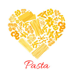 Pasta and italian macaroni heart poster vector