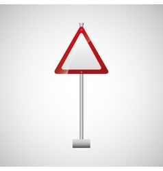 Sign traffic white and red triangle design vector