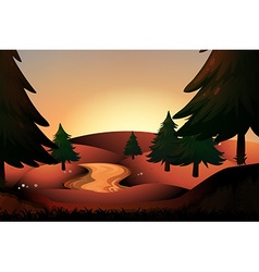 Silhouette river running down hills vector image vector image