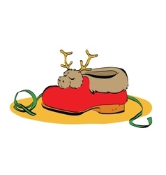 sneaker Santa Claus fur and deer vector image vector image