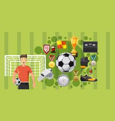Soccer play banner horizontal cartoon style vector