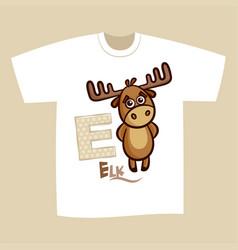 T-shirt print design letter e elk vector