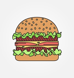 Thin line icon burger for web design and vector