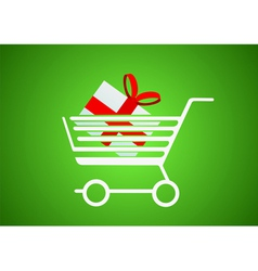 Trolley with a gift inside vector image vector image