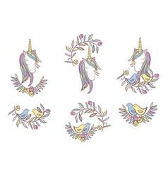 Unicorn rainbow pattern vector