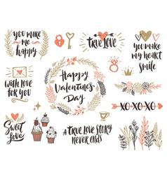 Valentines day hand drawn set vector