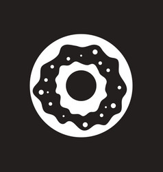 White icon on black background donut with vector