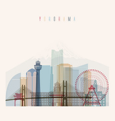 yokohama skyline detailed silhouette vector image