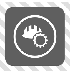 Development hardhat rounded square button vector